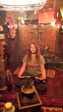 Tying to find inner peace in the Treehouse room!